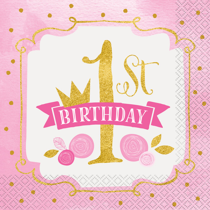 Pink & Gold First Birthday Luncheon Napkins, 16ct
