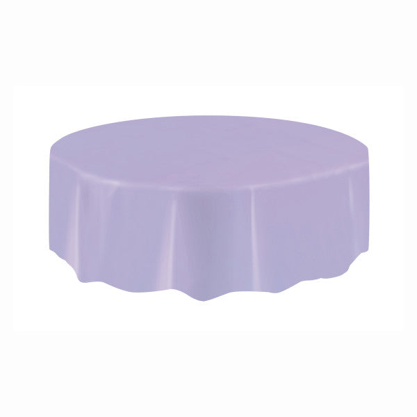 Lavender Solid Round Plastic Table Cover, 84""