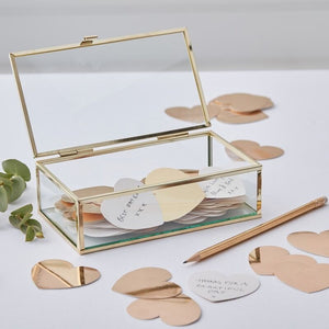 Gold Glass Trinket Guest Book Box
