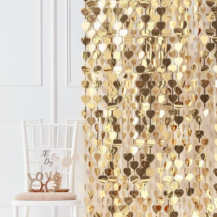 Ginger Ray Gold Heart Curtain Backdrop