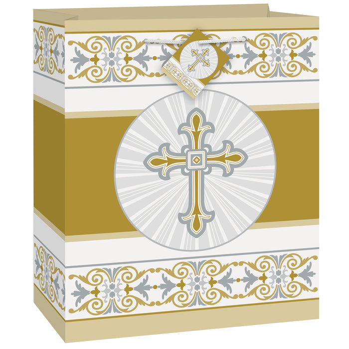Gold & Silver Radiant Cross Medium Gift Bag