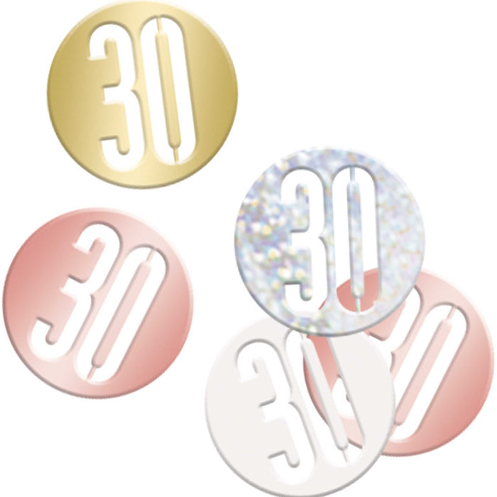 Birthday Rose Gold Glitz Number 30 Confetti, .5oz