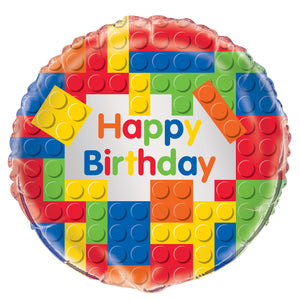 "Building Blocks Birthday Round Foil Balloon 18"", Packaged"