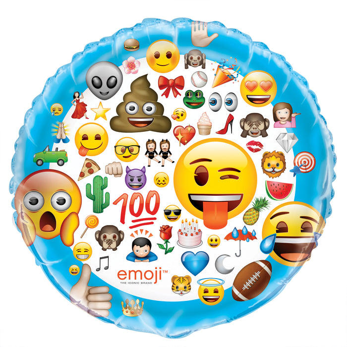 "Emoji Giant Round Foil Balloon 34"", Packaged"
