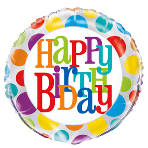 Rainbow Polka Dot Happy Birthday Round Foil Balloon 18""