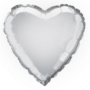 "Solid Heart Foil Balloon 18"", Packaged - Silver"