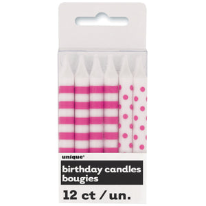Hot Pink Stripes & Dots Birthday Candles, 12ct