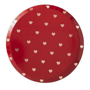 Rose Gold Valentines Heart Plates (8pcs)