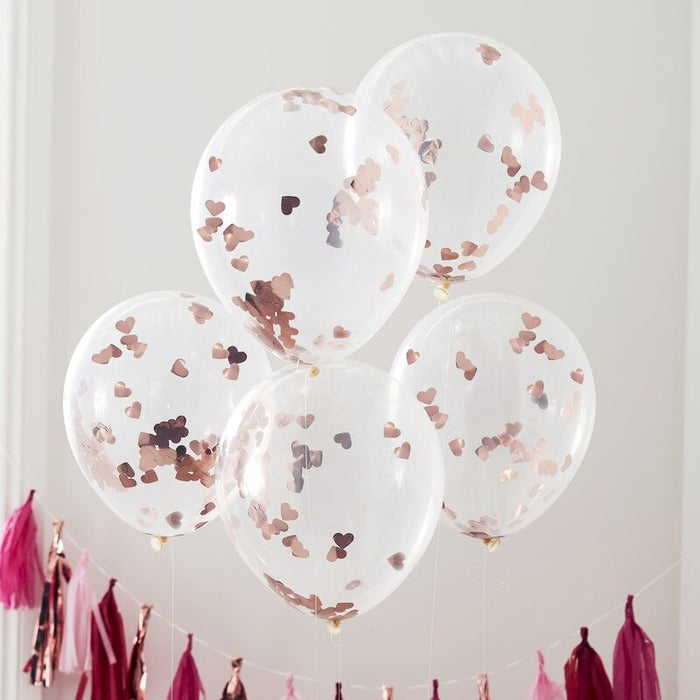 "Ginger Ray -  Rose Gold 12"" Heart Confetti Balloons"