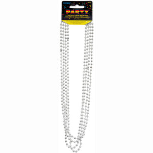 "Silver Metallic Bead Necklaces 32"", 4ct"
