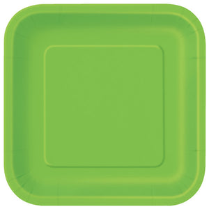 "Lime Green Solid Square 9"" Dinner Plates, 14ct"