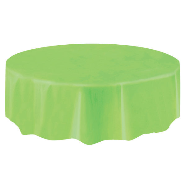 "Lime Green Solid Round Plastic Table Cover, 84"", Short Package"