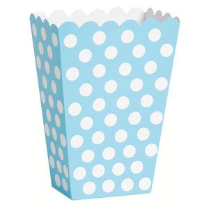 Powder Blue Dots Treat Boxes, 8ct
