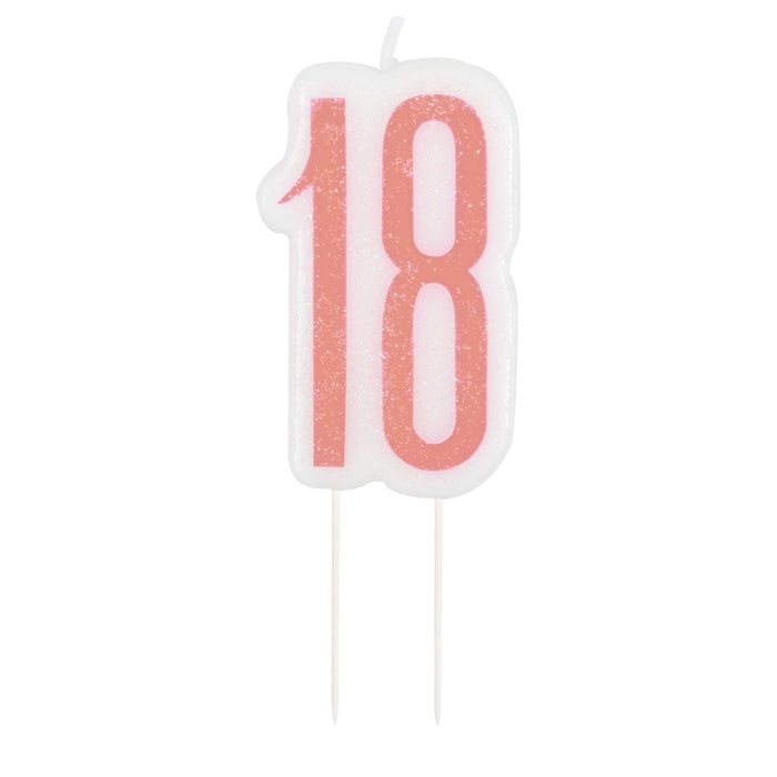 Birthday Rose Gold Glitz Number 18 Birthday Candle