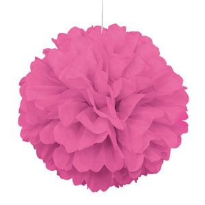 "Hot Pink Solid 16"" Hanging Tissue Pom Pom"