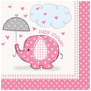 Umbrellaphants Pink Beverage Napkins, 16ct