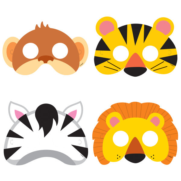 Animal Jungle Party Masks, 8ct