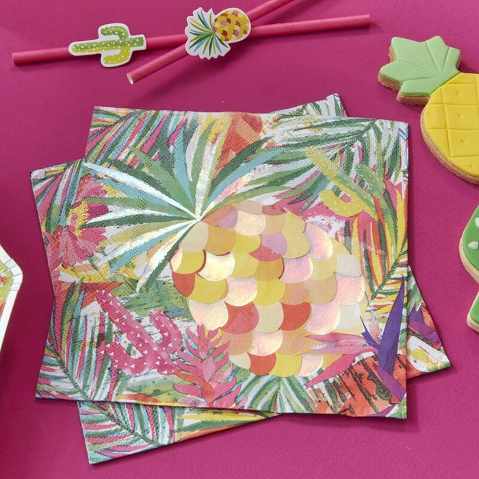 Ginger Ray Iridescent Pineapple Napkins - Hot Summer