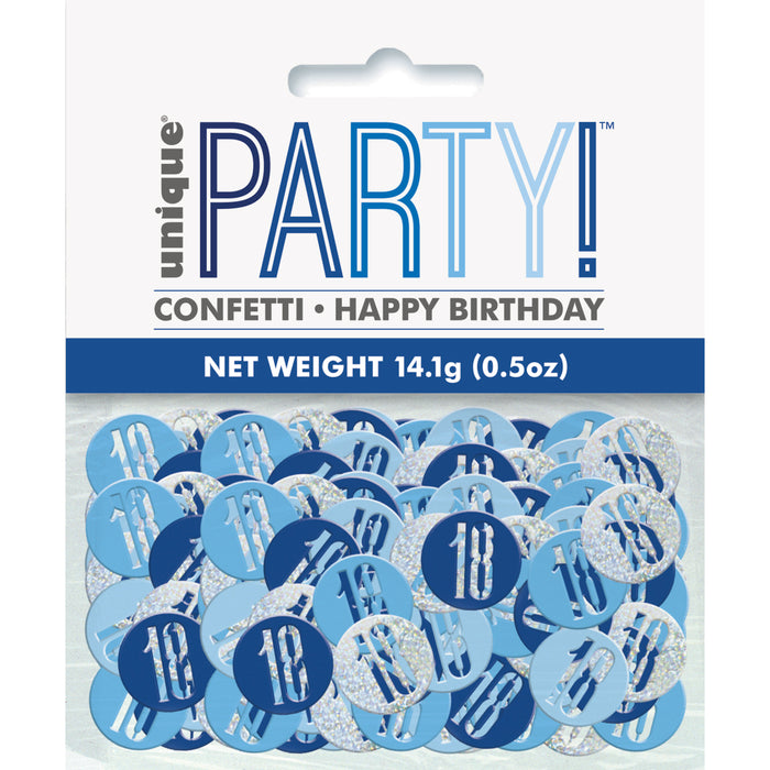 Birthday Blue Glitz Number 18 Confetti, .5oz