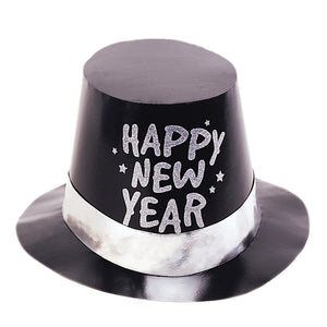 New Years Foil Glitter Top Hat - Black