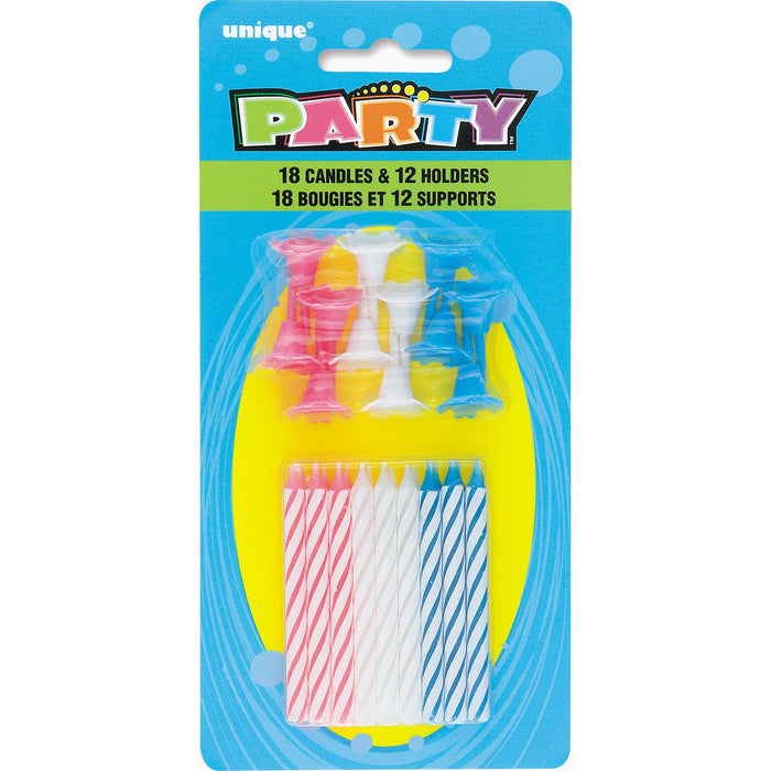 Birthday Candles in Holders - Assorted Colors, 18ct, 12 Holders