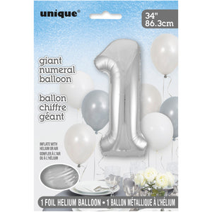 "Silver Number 1 Shaped Foil Balloon 34"", Packaged"