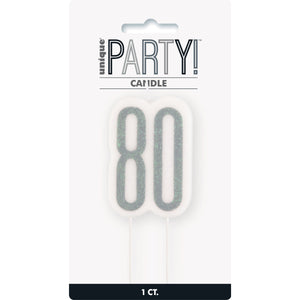 Glitz Black Numeral Birthday Candle 80