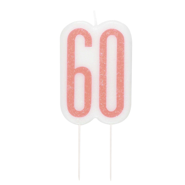 Glitz Rose Gold Numeral Birthday Candle 60