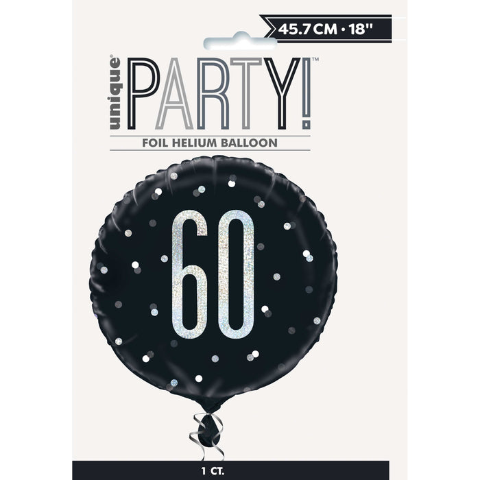 "18"" Glitz Black & Silver Round Foil Balloon Packaged 60"