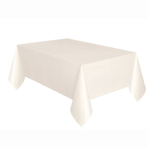 "Ivory Solid Rectangular Plastic Table Cover, 54""x108"""