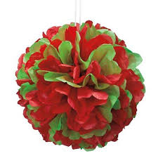 "Red & Green Solid 14"" Hanging Tissue Pom Pom"