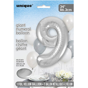 "Silver Number 9 Shaped Foil Balloon 34"", Packaged"