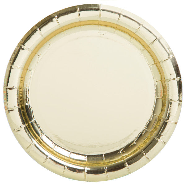 "Gold Foil Round 9"" Dinner Plates, 8ct - Foil Board"