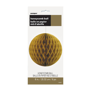 "Gold Solid 8"" Honeycomb Ball"