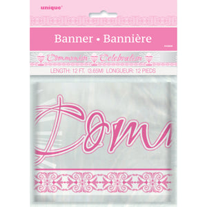 "Foil Pink Radiant Cross ""Communion"" Banner, 12 ft, Long Fold"