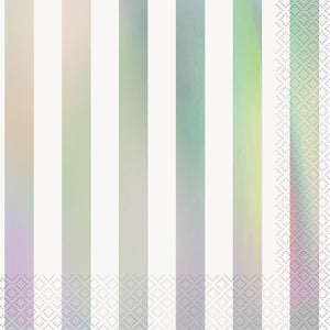 Iridescent Stripes Luncheon Napkins, 16ct - Foil Stamped