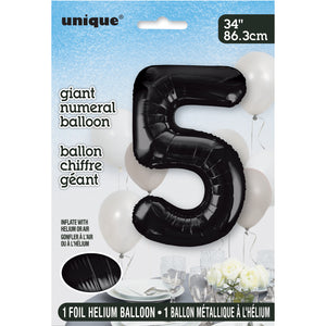 "Black Number 5 Shaped Foil Balloon 34"", Packaged"