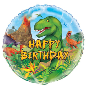 "Dinosaur Round Foil Balloon 18"", Packaged"