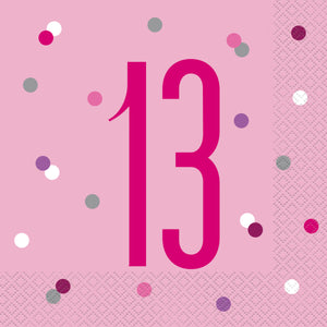 Birthday Pink Glitz Number 13 Luncheon Napkins, 16ct