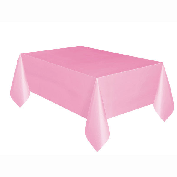 "Lovely Pink Solid Rectangular Plastic Table Cover, 54""x108"""