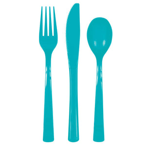 Caribbean Teal Solid Assorted Plastic Cutlery, 18ct