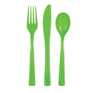 Lime Green Solid Assorted Plastic Cutlery, 18ct
