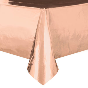 "Rose Gold Foil Rectangular Plastic Table Cover, 54""x108"""