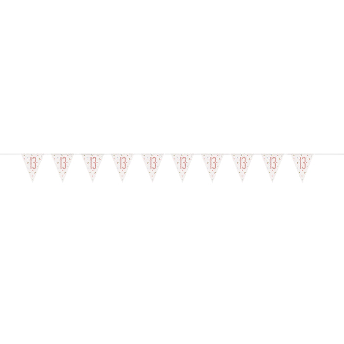 "Age ""13"" Birthday Rose Gold Glitz Prism Pennant Banner (9ft)"