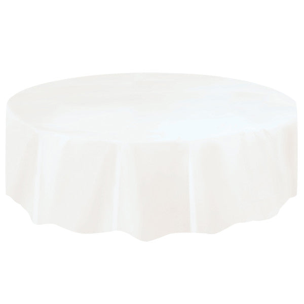White Solid Round Plastic Table Cover, 84""