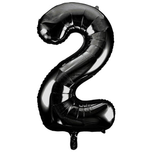 "Black Number 2 Shaped Foil Balloon 34"", Packaged"