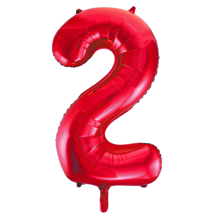 "Red Number 2 Shaped Foil Balloon 34"", Packaged"