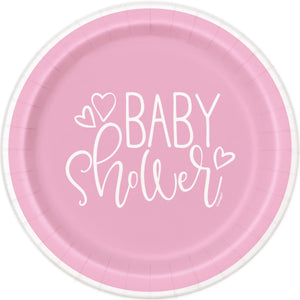 "Pink Hearts Baby Shower Round 9"" Dinner Plates, 8ct"