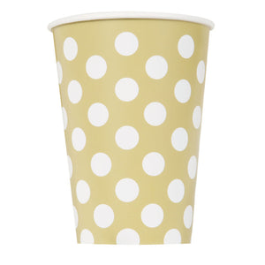 Gold Dots 12oz Paper Cups, 6ct