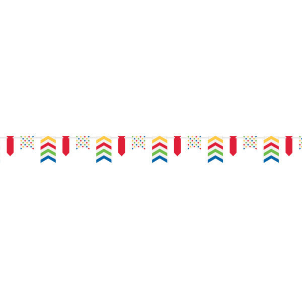 Bold Dots & Stripes Paper Pennant Banner, 12 ft